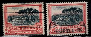 South Africa Scott 38a, 38b Used stamp pair
