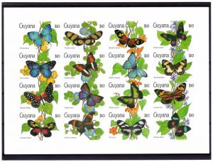 Guyana 1990 Sc#2341  Butterflies Shlt (16) Imperforated MNH VF