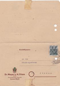 Germany  Allied Occupation 1948 pharamazeutical preparations letter R20962