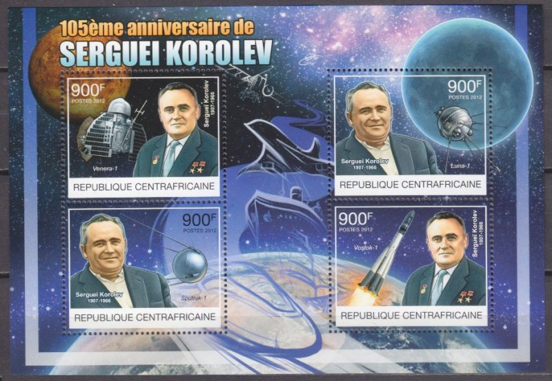 2012 Central African 3852-55KL 105 years of birth Sergey Korolev 16,00 €