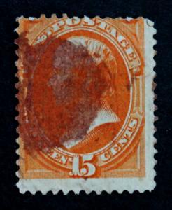US  Stamp Sc# 163 used Webster 1870 Bank Notes, CV= $ 160 + 10 Purple Cancel