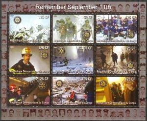 Congo 2003 Fire Trucks Remember September 11th Sheet MNH Cinderella !