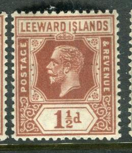 LEEWARD ISLANDS; 1921 early GV issue fine Mint hinged 1.5d. value, Shade