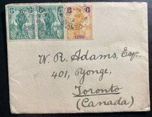 1922 Valletta Malta Red Wax Seal Cover To Toronto Canada
