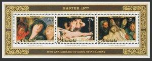 Aitutaki 147a sheet,MNH.Michel Bl.14. Easter 1977,Paintings by Peter Paul Rubens