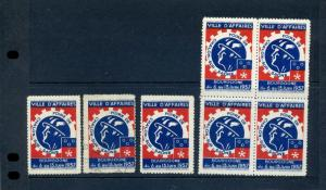 7 VINTAGE 1937 FRANCE BUSINESS EXPOSITION CHALON SUR SAONE POSTER STAMPS (L765)