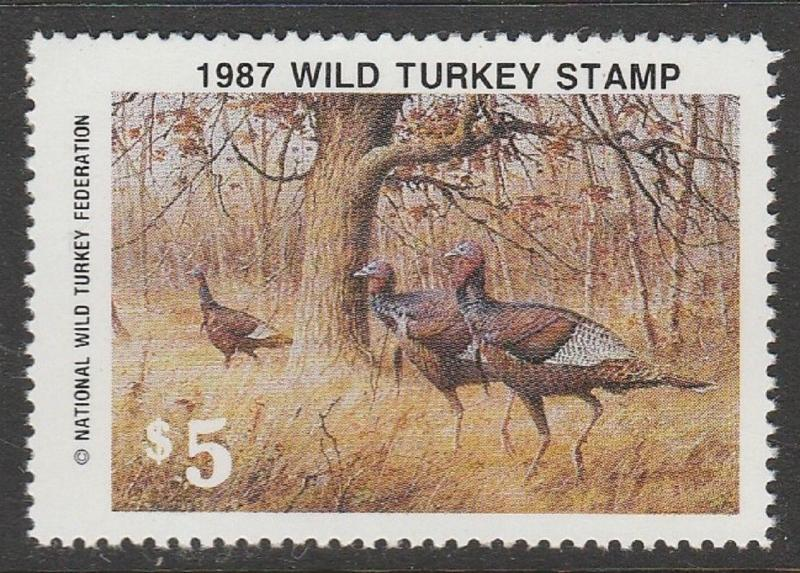 NWTF12 1987 National Wild Turkey Stamp EBAY LOW (ALL 1976