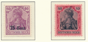 German Occupation Stamps, Etappengebiet West, 75C & 1F Overprints Mint - Free...