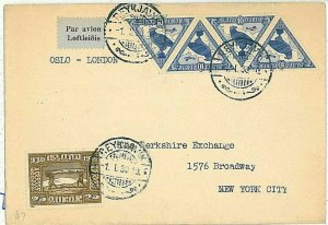 16120 - ISLAND Iceland - POSTAL HISTORY - rare posted FDC Cover 1930 BIRDS Eagle
