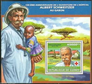 GUINEA 2013 100th ANNIVERSARY OF ALBERT SCHWEITZER GABON  HOSPITAL S/S  MINT NH