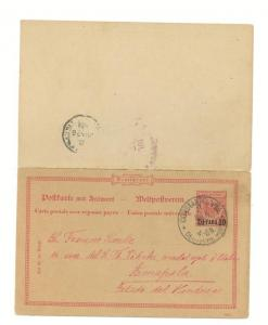 1900 German Post Office in Turkey Postal Stationery Reply cover to Honduras