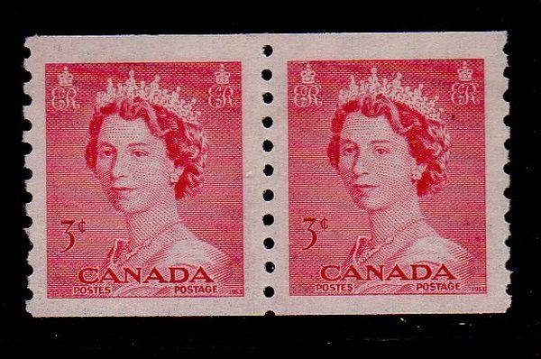 Canada Sc 332 1953 3c QE coil stamp pair mint NH