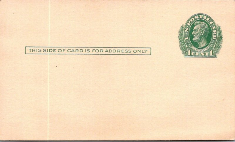 Unused Lincoln 1¢ stationery postcard Carnegie Library Pittsburgh book ready vtg