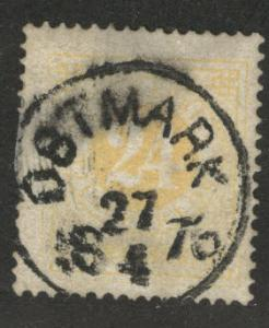 SWEDEN Scott 24a used 1872 perf 14 yellow smeared cx