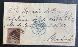 1840s Barcelona Spain Letter Sheet cover To Madrid