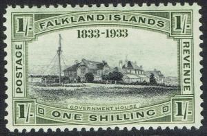 FALKLAND ISLANDS 1933 CENTENARY 1/- GOVERNMENT HOUSE