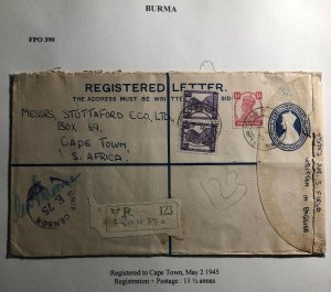 1945 Burma FPO 390 Censored Registered Cover To Cape Town South Africa