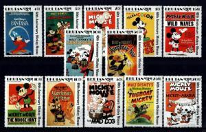 BHUTAN - 1989 - DISNEY - MICKEY MOUSE - MOVIE POSTER - FANTASIA + 12 X MINT SET!