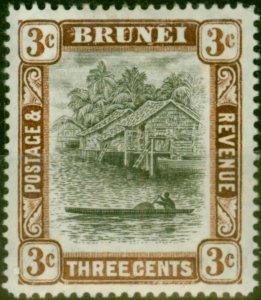 Brunei 1907 30c Grey-Black & Chocolate SG25c Wmk Reversed Fine Mtd Mint