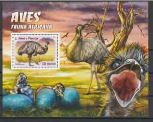 St. Thomas & Prince Islands MNH S/S Ostriches Birds 2016