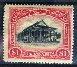 Malaya Kedah 1924 Definitive $1 MSCA Crown to Left of CA MH SG#37w M2295