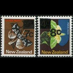 NEW ZEALAND 1977 - Scott# 630-1 Moth Surch. Set of 2 NH