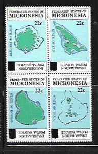 MICRONESIA, 51A, MNH, BLOCK OF 4, MAPS