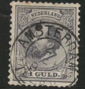 Netherlands Scott 32 William III 1 Guilder gray violet CV$40