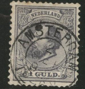 Netherlands Scott 32 William III 1 Guilder gray violet CV$40