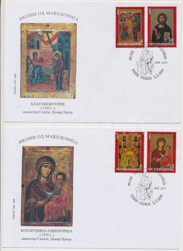 Macedonina stamp Icons set on 2 pcs FDCs + block on FDC 1999 WS114276