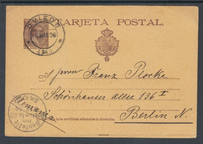 Spain H&G 27 used. 1896 10c Postal Card, OVIEDO-BERLIN, Germany, clean