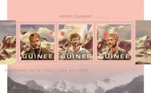 Guinea-2013 Nobel Laureate Henri Dunant  3 Stamp Sheet 7B-2178