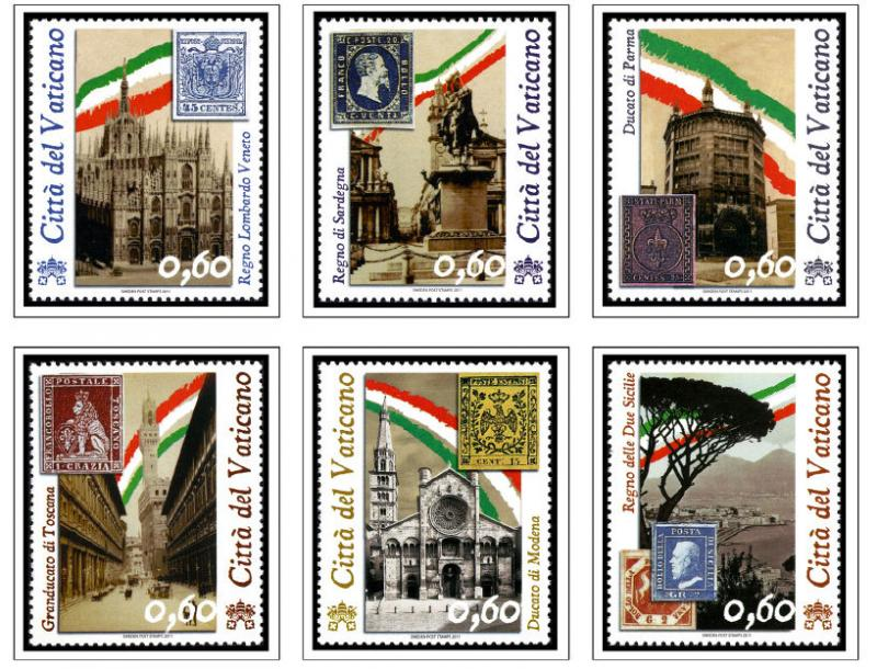 COLOR PRINTED VATICAN CITY 2011-2017 STAMP ALBUM PAGES (31 illustrated pages)