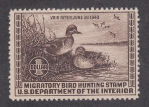US Sc RW6 MLH. 1939 $1 Green Winged Teal, Duck Hunting Permit Stamp
