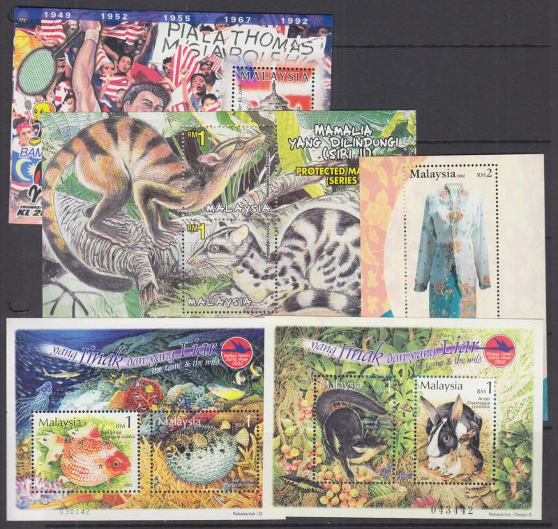Malaysia Sc 786//960 MNH. 2000-2003 Souvenir Sheets, 10 different, VF