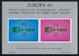 1961 Europa Souvenir Non-Postal Mini-Sheet Cinderella
