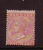 Bermuda Sc 1 1865 1d rose red Victoria stamp mint