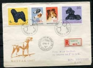 Hungary 1967 Cover  First Day Special Cancel Registered  To Germany Fauna Dogs