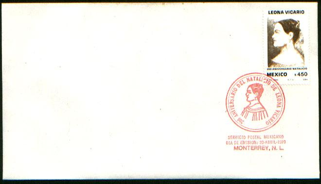 MEXICO 1610 FDC Leona Vicario, Heroine of the Independence F-VF