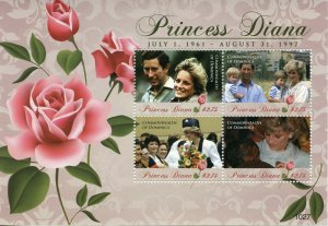 Dominica Royalty Stamps 2010 MNH Princess Diana Famous People 4v M/S