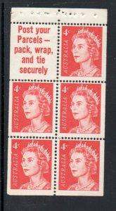 Australia Sc 397a 1966 4c QE II stamp booklet pane of 5 mint NH