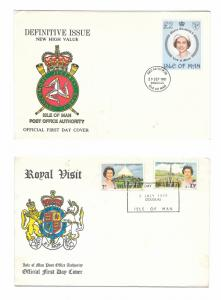 Isle of Man 2 FDCs 1981 QEII Definitive Issue New High Value 1979 Royal Visit