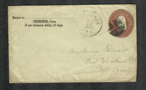 US Sc#u277a Cherokee Iowa Postal Stationery Cover Aug 22, 1886