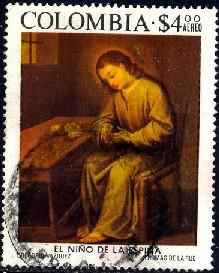 Colombia stamp SC#C617 used, Painting, by Gregorio Vazquez