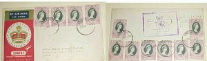 SINGAPORE 1953 CORONATION FLIGHT WITH 12 STAMPS CANCELLED CACHETED