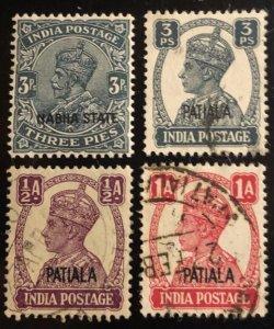 India Patiala Scott#60,102, 103, 105 Used VF Cat. $0.80