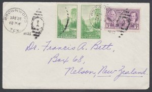 USA 1936 cover Brownwood Texas to New Zealand - 5c rate.....................J875
