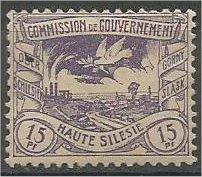 UPPER SILESIA, 1920, used 15pf, Dove with Olive: Scott 19