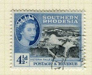 SOUTHERN RHODESIA; 1953 early QEII issue fine used 4.5d. value