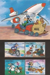 Lesotho - 1986 Disney Characters Delivering Mail - 4 Stamp Set + S/S #540-4